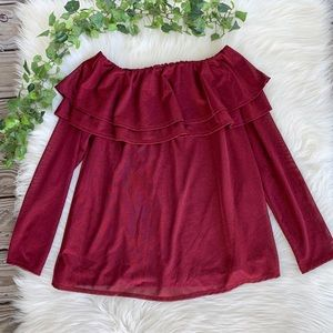 NWT Gibson Latimer Shimmer Ruffle Red Blouse
